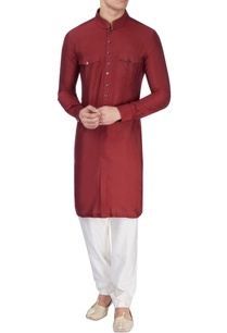 maroon-silk-long-kurta