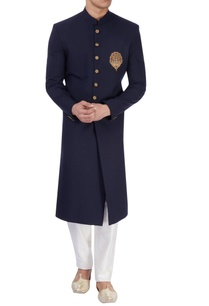 navy-blue-sherwani-with-embroidered-patch