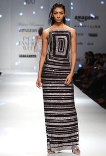 black-and-silver-shimmer-column-dress