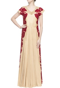 gold-anarkali-with-velvet-applique-work