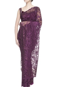aubergine-purple-chantilly-lace-sari