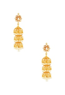 gold-plated-three-tier-jhumka-earrings