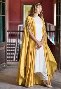 mustard-yellow-cape-kurta-palazzo