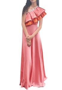 pink-orange-one-shoulder-pleated-dress