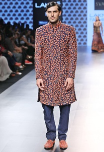blue-sherwani-with-orange-jaal-work