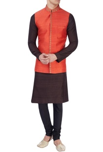 red-embroidered-nehru-jacket