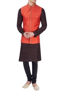 red-embroidered-nehru-jacket