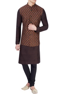 black-nehru-jacket-with-saffron-print