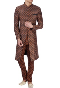 black-sherwani-with-orange-tree-print