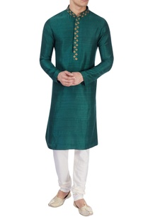 green-raw-silk-kurta-churidar