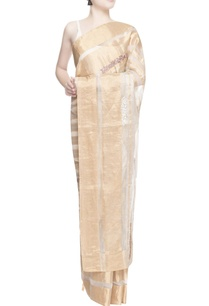 white-gold-stripe-print-sari