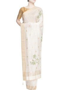 white-polka-dot-embroidered-sari