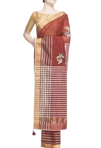 maroon-thread-embroidered-sari