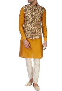 ochre-yellow-kurta-set-with-waistcoat