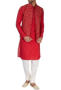 red-kurta-set-with-embroidered-waistcoat