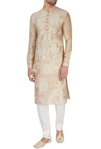 champagne-embroidered-kurta