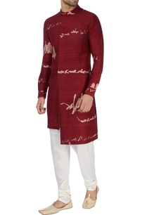 maroon-printed-high-low-kurta