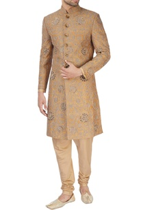 gold-sherwani-with-kurta-churidar