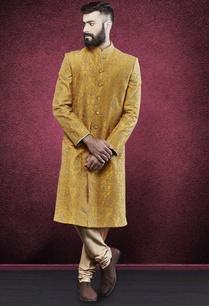 yellow-thread-work-embroidered-sherwani