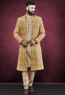 beige-sherwani-with-embellished-collar