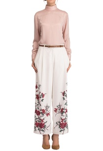 white-floral-print-trousers