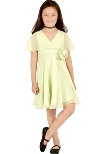 mint-green-flared-cape-sleeves-dress