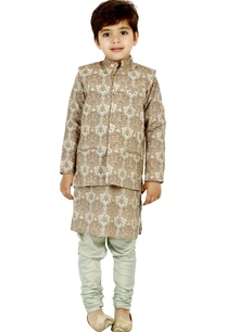 brown-floral-print-kurta-set-with-vest