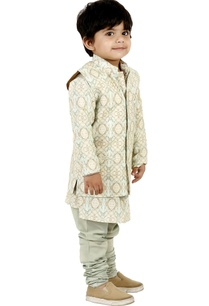 sea-green-printed-kurta-set-with-vest