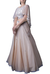 peach-cape-blouse-with-lehenga