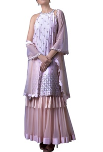 champagne-pink-haltered-double-layered-dress-with-dupatta