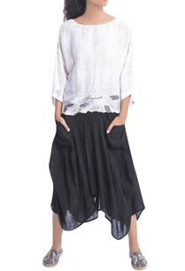 white-printed-blouse-black-skirt