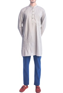 khakhi-thread-embroidery-kurta