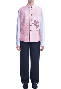 baby-pink-embroidered-nehru-jacket