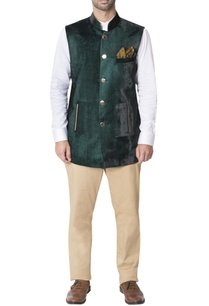 green-nehru-jacket-with-gold-detailed-pockets