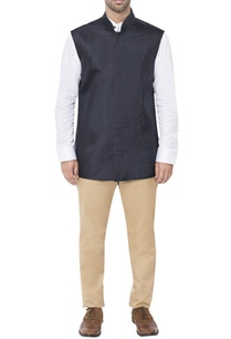 blue-pleated-style-nehru-jacket