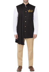 black-nehru-jacket-with-pleated-drape