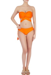 orange-twisted-halter-neck-bikini
