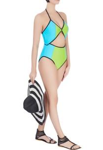 lime-halter-neck-swimsuit