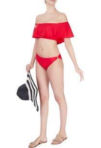 red-off-shoulder-ruffles-swimsuit