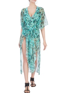 green-abstract-printed-kaftan-with-slits