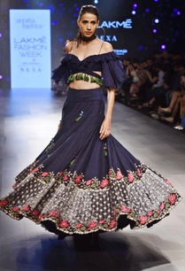 navy-blue-floral-lehenga-with-off-shoulder-blouse