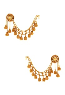gold-plated-earrings-with-hair-link-chain