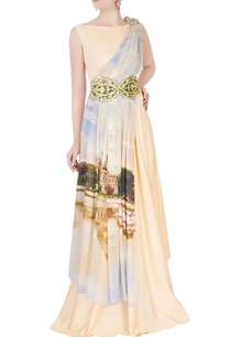 peach-draped-printed-gown