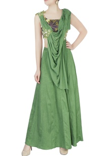 green-embroidered-draped-lehenga