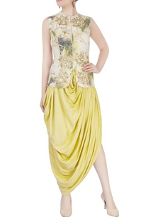 yellow-printed-dhoti-set