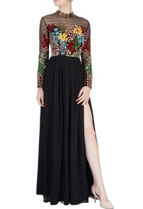 black-3d-floral-embroidered-gown