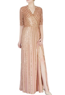 coral-pink-sequin-stripe-dress