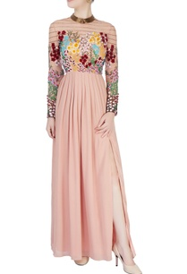 coral-pink-3d-floral-embroidered-dress