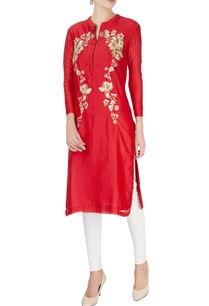 red-silver-sequin-embroidered-tunic