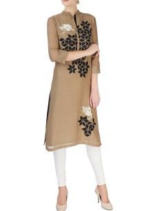 brown-kurta-with-silver-sequin-patches